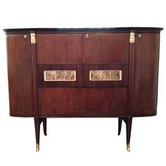 Spectacular Italian Mahogany and Gilt Bronze Bar Cabinet by Paolo Buffa | From a…