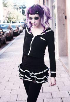 Murderotic Gothic Fashion, High Fashion, Vintage Fashion, Alternative Outfits, Alternative Fashion, Scene Style, My Style, Back To Black, Purple Hair