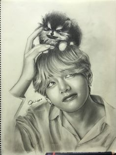 Taehyung and Yeontan fanart ctto Bts Taehyung, Taehyung Fanart, Jimin, K Pop, Kpop Fanart, Fan Art, Bts Anime, Kpop Drawings, Art Plastique