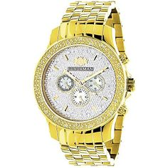 Yellow Gold Tone Watches: Luxurman Mens Diamond Watch 0.25ct - Jewelry For Her