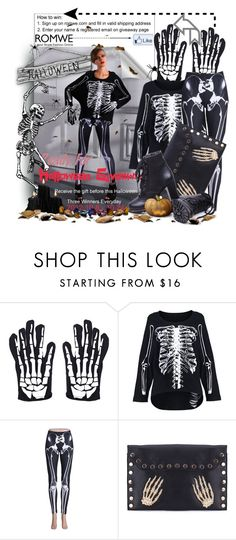 """Romwe Free Skeleton Leggings For Halloween (with soundtrack)"" by keti-lady ❤ liked on Polyvore featuring ankle boots, black and white, 2012, bone print t-shirt, costume, romwe, fall, clutches, bone print gloves and halloween"