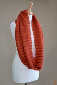 Knitted silk and mohair cowl snood in orange colour by foldi, $75.00