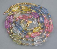 """Joan Rivers Signed Faceted Pastel Lucite Barrel Bead Necklace Extra Long 48"""" adj #JoanRivers"""
