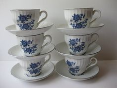 Vintage  Enoch Wedgwood Royal Blue Teacups & by thechinagirl