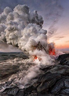 Kilauea lava erupting into the sea around the Big Island of Hawai'i.