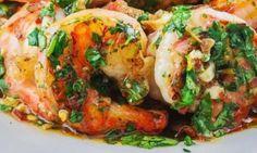 Recette de crevettes grillées sauce à l'ail rôti et coriandre