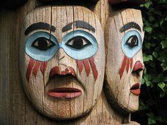 Totem pole at Totem Bight park near Ketchikan Alaska
