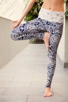 ALLURE lace-waist yoga leggings by MuladharaYoga on Etsy