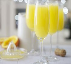 Mimosas \  1 bottle Champagne or sparkling wine, chilled 1l freshly squeezed orange juice, chilled  \ Half-fill each of 6 glasses with Champagne, then carefully pour in the orange juice until the glass is full.