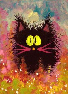 Art: Fuzzy Black Cat by Artist Cynthia Schmidt.... Cute little fuzz ball!