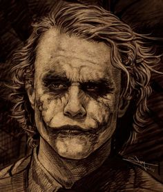 This is an expression of the Joker captured in the Dark Knight movie before his head gets smacked on the table by Batman. The thinking Joker Joker Images, Joker Pics, Joker Art, Joker Batman, Joker Poster, Heath Ledger Joker, Fotos Do Joker, Joker Kunst, Joker Drawings