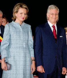 Belgian King Philippe and Queen Mathilde attend a First World War commemoration, in Ploegsteert, Belgium, 17.10.  The Lichtfront will illuminate the front line of 1914, with 8,400 torchbearers to form a human chain stretching about 84 kms along the line where the Western Front stood before battle.