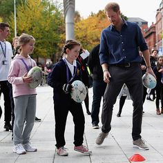 The royal certainly looked the part of a coach. Harry got rugby skills training, while visiting the National Ice Centre in Nottingham to see the work of the Coach Core program.  Photo: Matthew Lewis PA Wire/PA Images