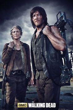 Walking Dead, The - Carol and Daryl - Filmposter Kino Movie Gruselserie - Größe 61x91,5 cm + 2 St. Posterleisten Kunststoff 62 cm transparent