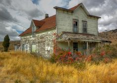 """Old House"" -- [By the railroad right-of-way on *Old Oregon Trail Road near Soda Springs, Idaho*]~[Photograph by arbyreed (R. B. Reed) - October 9 2010 - Alexander, Idaho - US]'h4d-124.2013'"