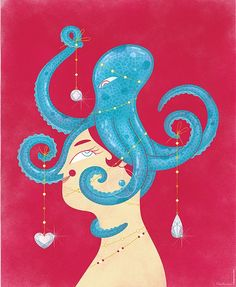Octopus Queen. Poster printed on SBS board, encapsulated with clear plastic film, matte finish. Measures: 19.33X23.22in