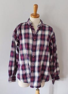 Vtg 80s Dickies flannel Shirt men women M maroon Buffalo Plaid ...