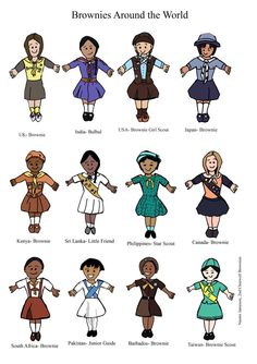 World Thinking Day - Brownie Uniforms from around the world.