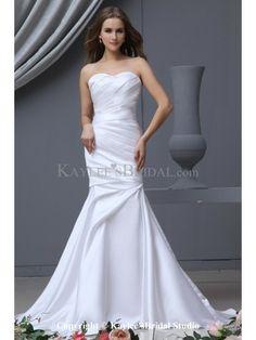 Charmeuse Sweetheart Sweep Train Mermaid Wedding Dress with Ruffle