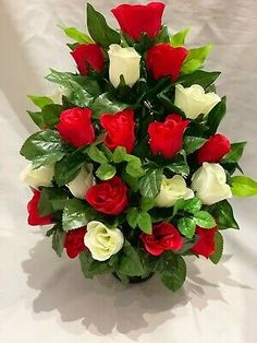 """Silk Flowers for Every Occasion by Silky Bouquets Ltd.® Approximately 16""""/40cm tall, including 4""""/10cm height of the standard sized grave pot the flowers are arranged in. An all rose pot with a flat back design, can be any colour combination of roses just state in a message after ordering either one or two rose colours and we will make as requested. Purchase any item as pictured, send a message to confirm colours, spellings, any personalisation requests and the date your Funeral Floral Arrangements, Rose Flower Arrangements, Large Artificial Flowers, Memorial Cards, Rose Lily, Cemetery Flowers, Funeral Flowers, Beautiful Flowers, Holiday Decor"""