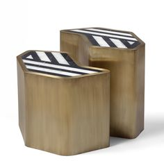 Pair of side tables. Top in black marble and Calacatta. Base in patinated brass.
