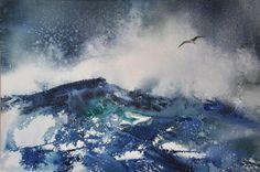 Ocean Mood XII - Watercolors by Deborah Swan-McDonald