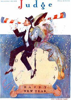 """Happy New Year"" - cover of Judge magazine, December 28, 1912, ten cents ~ (vintage, edwardian era)"