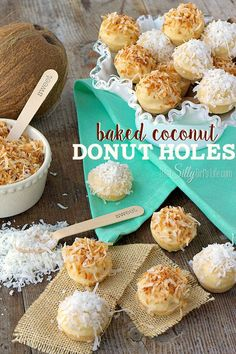 Baked Coconut Donut Holes {Fluffy Bunny Tails}, perfect for Easter, toasted coconut donut holes baked in a mini muffin tins, dipped in decadent vanilla glaze and topped with more coconut to mimic fluffy bunny tails! - ThisSillyGirlsLife.com