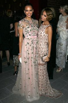 Jessica Alba (wearing Valentino) and Nicole Richie (wearing Lorena Sarbu) at the Baby2Baby gala in Culver City, CA
