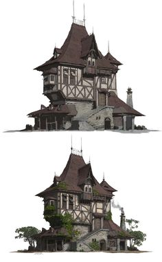 A folk house design and rendering. I upload some steps of this work. hope you li… – Architektur Fantasy Castle, Fantasy House, Medieval Fantasy, Medieval Houses, Medieval Town, Environment Concept Art, Environment Design, Building Concept, Building Design