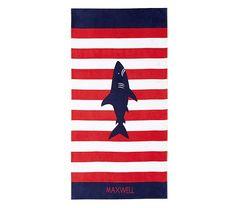 Shark Classic Stripe Beach Towel | Pottery Barn Kids