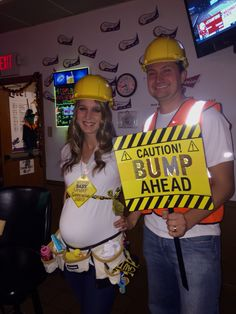 Pregnant Construction Worker couples Halloween costume