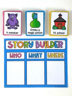 Story Builder Writing Center Your students will love using this story builder to. Story Builder Writing Center Your students will love using this story builder to help them construct creative and in Preschool Learning Activities, English Activities, Reading Activities, Therapy Activities, Preschool Writing Centers, Preschool Class Rules, Jolly Phonics Activities, Word Family Activities, Preschool Decor