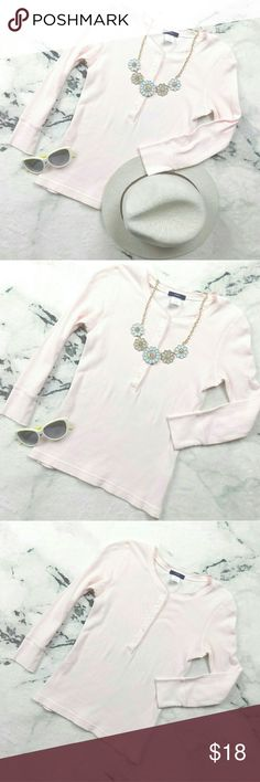 J. Crew Light Pink Henley Top J. Crew Light Pink Henley Top, size XS. Waffle shirt, lightweight. Offers are welcome!   Thanks for checking out my closet! :) J. Crew Tops Tees - Long Sleeve