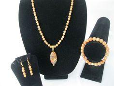 Polished Geode Stone Pendant, on orange Aventurine and Topaz Crystals. #MDJewelCraft