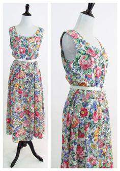 Vintage 1980s Dress  Rainbow Floral Cotton by PonsonbyVintage