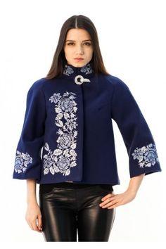 "Демісезонне пальто ""Дика ружа"" синього кольору Cross Stitch Patterns, Bomber Jacket, Coat, Long Sleeve, Sleeves, Jackets, Women, Fashion, Dress Outfits"