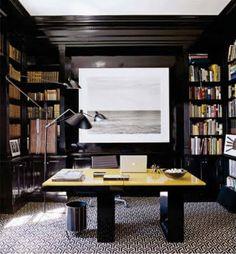 black built ins, brass library lights