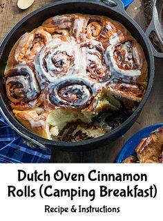 Dutch Oven Cinnamon Rolls (Camping Breakfast) - http://diyforlife.com/dutch-oven-cinnamon-rolls-camping-breakfast/ - #CampingFood, #DutchOvenCinnamonRolls, #Recipe