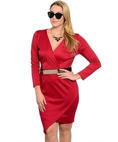 Janette Plus Womens Plus Size Dress Long Sleeve Asymmetrical Hem Faux Wrap Front 1XL Red Janette Plus http://www.amazon.com/dp/B01ACA8LZS/ref=cm_sw_r_pi_dp_dnLdxb14P0DM6