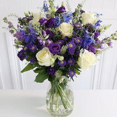 The Mayfair Bouquet: Purple And Gold Wedding, Blue And Purple Flowers, Church Wedding Flowers, Summer Wedding Bouquets, Flowers For Algernon, Floral Design Classes, Blue Bouquet, Bouquet Flowers, Rose Arrangements
