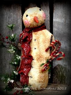 Primitive Folk Art Snowman Stump Doll with Candycanes-Mica Flakes-OOAK-Winter, Christmas, Hafair Team, DTHFAAP