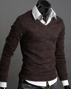 Solid V Collar Pullover Knitting Long Sleeve Cotton Blends Men Sweater