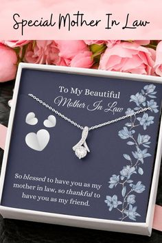 A beautiful message card is the perfect gift to show your mother-in-law that you love and appreciate her this Mother's Day. A beautiful card and necklace, so she can keep your love close to her heart. #motherinlawgift #motherinlawnecklace #motherinlawmothersday Mother In Law Gifts, Ribbon Design, Message Card, Mothers Day Cards, Working Moms, Beautiful Necklaces, Jewelry Gifts, Appreciation, Messages