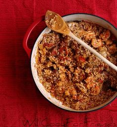 Jambalaya - this is a great recipe and makes a TON. Normally I would freeze some, but I took a bunch to a pot luck and got told repeatedly it was people's favorite thing there!