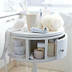 Genius storage table for the bathroom!