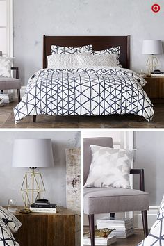 Embrace shapes in your bedroom. A Nate Berkus geo-patterned lamp, comforter and pillow work in harmony to pull the room together.