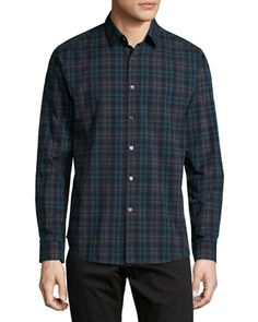 SALE $78.00 Zack+Plaid+Long-Sleeve+Shirt,+Blue+by+Theory+at+Neiman+Marcus.
