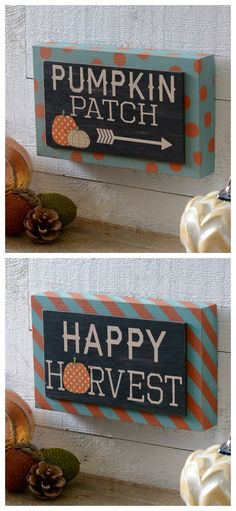 Add a fun touch of harvest here and there with Fall Sentiment Plaques! Hang these small signs as part of a gallery wall or small wall space in your bathroom.