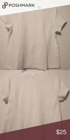 Ann Taylor White Peplum Top Large White in good condition . Ponte Peplum Top. Ann Taylor . Zipper on the back . Short sleeve Ann Taylor Tops